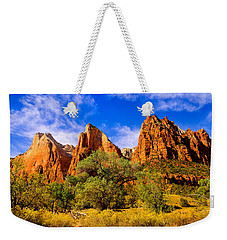 Weekender Tote Bag featuring the photograph Court Of The Patriarchs by Greg Norrell