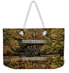 Weekender Tote Bag featuring the photograph Covered Bridge At Sturbridge Village by Jeff Folger