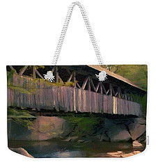 Weekender Tote Bag featuring the painting Covered Bridge by Jeff Kolker