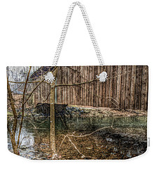 Weekender Tote Bag featuring the photograph Covered Bridge Snowy Day by Susan Maxwell Schmidt