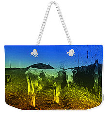 Weekender Tote Bag featuring the digital art Cow On Lsd by Cathy Anderson
