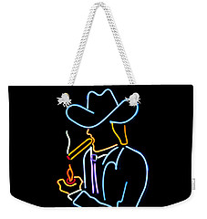 Cowboy In Neon Weekender Tote Bag by Art Block Collections