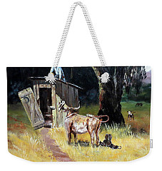Cowboy On The Outhouse  Weekender Tote Bag by Lee Piper
