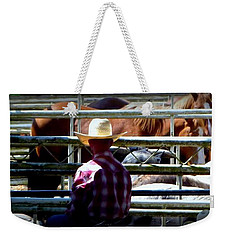 Weekender Tote Bag featuring the photograph Cowboys Corral by Susan Garren