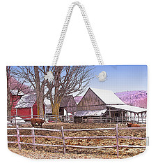 Weekender Tote Bag featuring the digital art Cows At Jenne Farm by Nancy Griswold