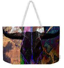 Weekender Tote Bag featuring the digital art Cowskull Over The Canyon by Cathy Anderson