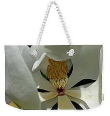 Weekender Tote Bag featuring the photograph Coy Magnolia by Caryl J Bohn