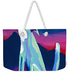 Weekender Tote Bag featuring the painting Coyote Azul by Stephen Anderson