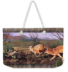 Weekender Tote Bag featuring the painting Coyote Run With Boarder by Rob Corsetti