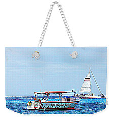 Weekender Tote Bag featuring the photograph Cozumel Excursion Boats by Debra Martz