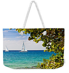 Weekender Tote Bag featuring the photograph Cozumel Sailboats by Mitchell R Grosky