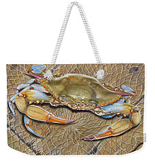 Crab In A Trap Weekender Tote Bag by Phyllis Beiser