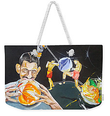 Weekender Tote Bag featuring the painting Cracking Marvels Cascando Canicas by Lazaro Hurtado