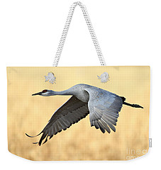 Crane Over Golden Field Weekender Tote Bag
