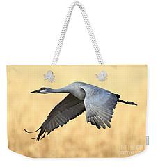Crane Over Golden Field Weekender Tote Bag