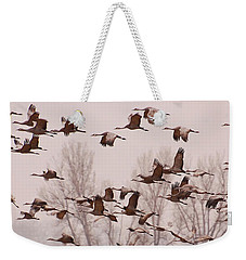 Weekender Tote Bag featuring the photograph Cranes Across The Sky by Don Schwartz