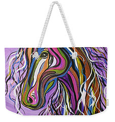 Weekender Tote Bag featuring the painting Crazy Horse by Janice Rae Pariza