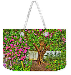 Weekender Tote Bag featuring the photograph Crepe Myrtle In Wiliamsburg Garden by Jerry Gammon
