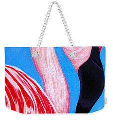 Crimson Flamingo Weekender Tote Bag by Anita Lewis