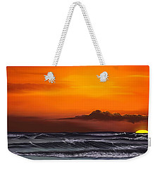 Weekender Tote Bag featuring the drawing Crimson Sunset by Anthony Fishburne