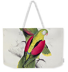 Crimson Winged Parakeet Weekender Tote Bag by Edward Lear