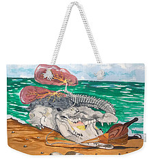 Weekender Tote Bag featuring the painting Crocodile Emphysema by Lazaro Hurtado