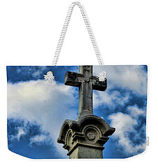 Weekender Tote Bag featuring the photograph Cross Face 3 by Lesa Fine
