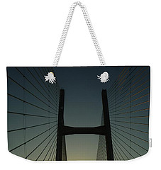 Weekender Tote Bag featuring the photograph Crossing The Severn Bridge At Sunset - Cardiff - Wales by Vicki Spindler