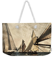 A Vintage Processed Image Of A Sail Race In Port Mahon Menorca - Crowded Sea Weekender Tote Bag