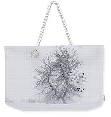 Crows On Tree In Winter Snow Storm Weekender Tote Bag by Peter v Quenter