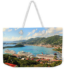 Cruise Ships In St. Thomas Usvi Weekender Tote Bag by Roupen  Baker