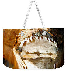 Weekender Tote Bag featuring the digital art Cuban Crocodile by Daniel Janda