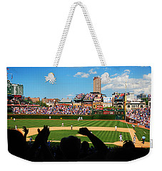 Weekender Tote Bag featuring the photograph Cubs Win by James Kirkikis