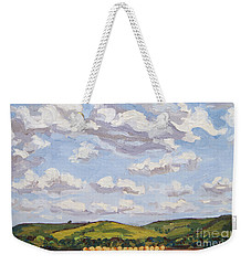 Weekender Tote Bag featuring the painting Cumulus Clouds Over Flint Hills by Erin Fickert-Rowland