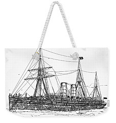 Weekender Tote Bag featuring the drawing Cunard Liner Umbria 1880's by Ira Shander