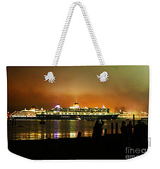 Weekender Tote Bag featuring the photograph Cunard's 3 Queens by Terri Waters
