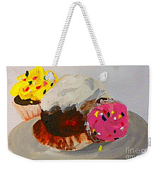 Weekender Tote Bag featuring the painting Cupcakes by Marisela Mungia