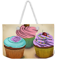 Weekender Tote Bag featuring the drawing Cupcakes by Meg Shearer