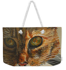 Weekender Tote Bag featuring the painting Curious by Karen Ilari