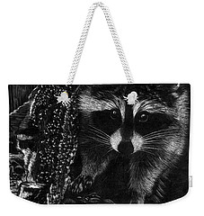 Curious Raccoon Weekender Tote Bag
