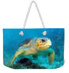 Curious Sea Turtle Weekender Tote Bag by David  Van Hulst