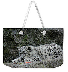 Curious Snow Leopard Cub Weekender Tote Bag
