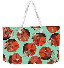 Curled Fox Polka Mint Weekender Tote Bag