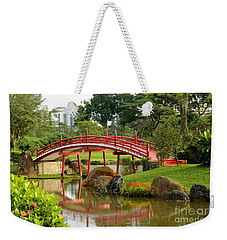Curved Red Japanese Bridge And Stream Chinese Gardens Singapore Weekender Tote Bag