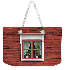 Cute Window On Red Wall Weekender Tote Bag