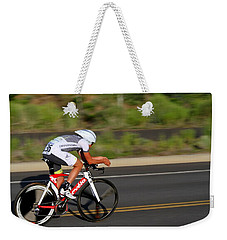 Weekender Tote Bag featuring the photograph Cycling Time Trial by Kevin Desrosiers