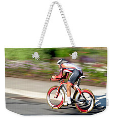Weekender Tote Bag featuring the photograph Cyclist Time Trial by Kevin Desrosiers