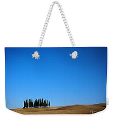 Cypress Forest In The Barren Rolling Hills Of Tuscany Weekender Tote Bag by IPics Photography