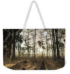 Cypress Stumps And Sunset Fire Weekender Tote Bag