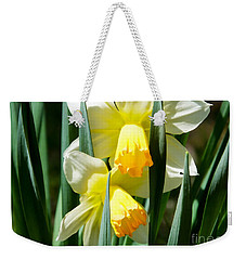 Weekender Tote Bag featuring the photograph Daffodil Hug by Kristen Fox